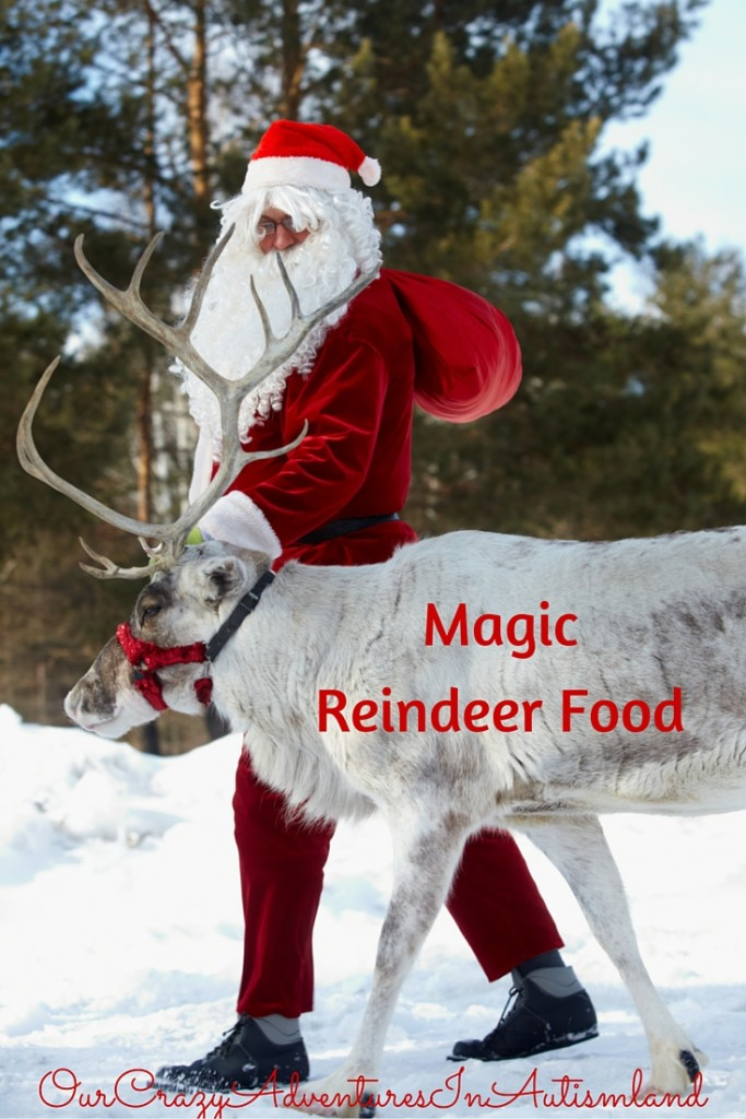 "Magic Reindeer Food is a fun family tradition to lay out ""food"" to help attract Santa's reindeer to land in your yard"