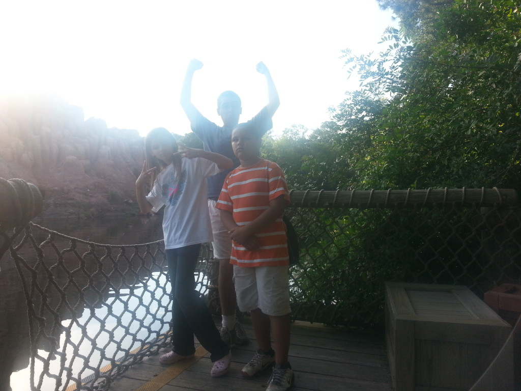 Playing on Tom Sawyer Island for a long time