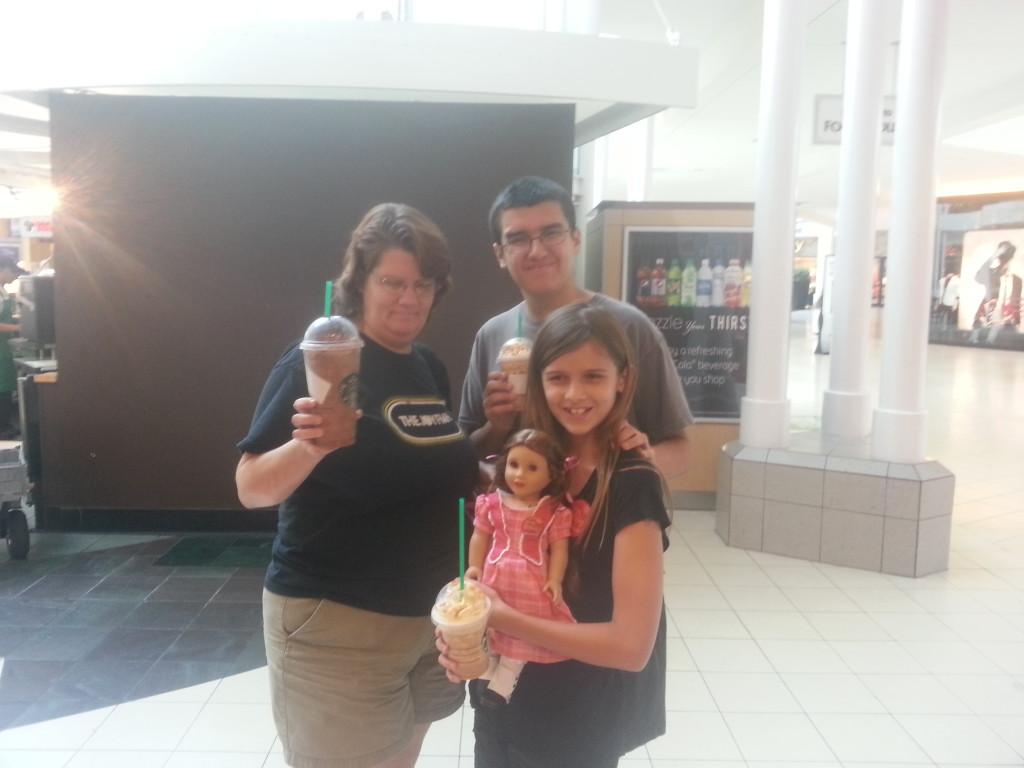 Slurping up Frappucinos while we walk through the mall in Atlanta