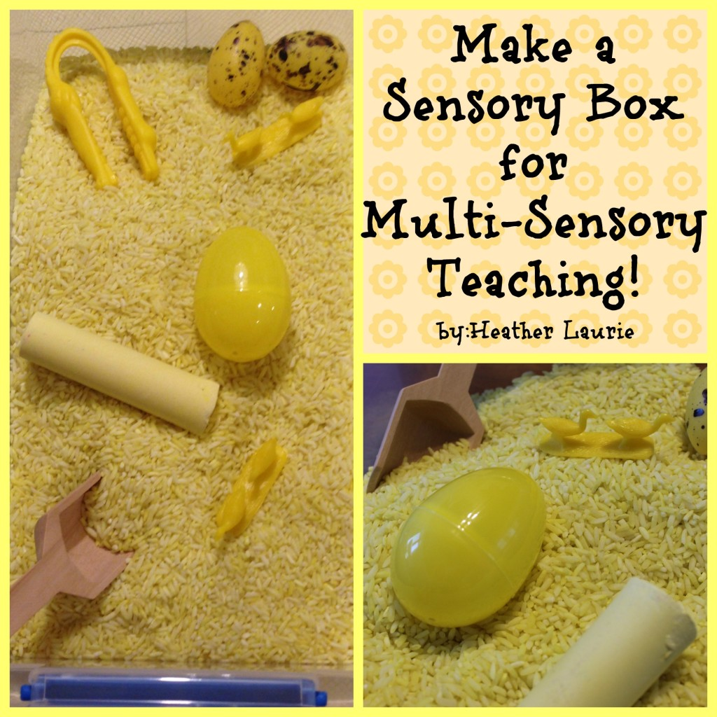 Make a sensory box at home for multi-sensory teaching. By teaching using all the senses, you increase the chance that your children will remember what he learned.
