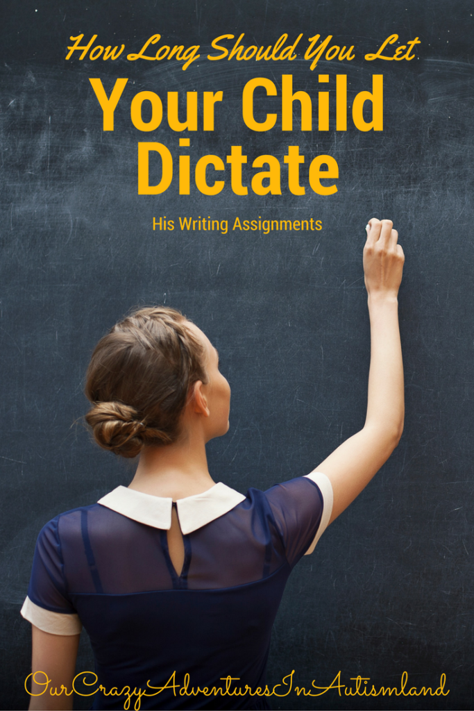 How long should you let your child dictate his writing assignments? We want them to know the concept not get bogged down in getting it on paper.