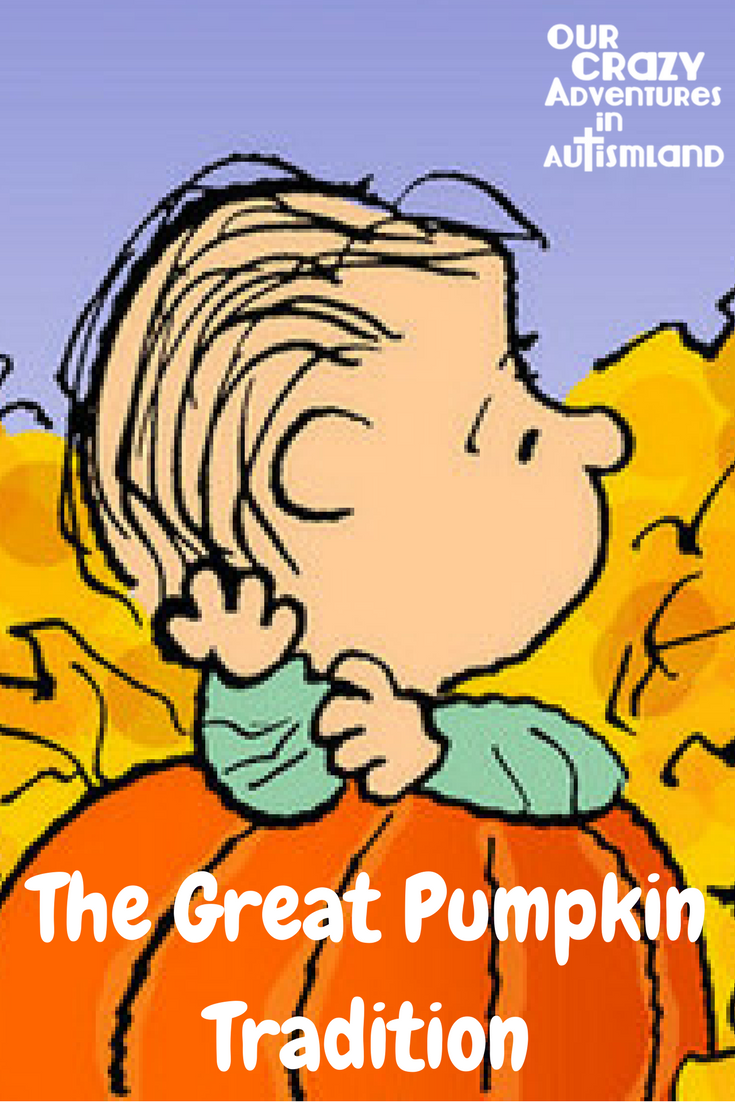 The Great Pumpkin tradition started in our house as a way to trade candy Logan was allergic to. It has become a much treasured family tradition.