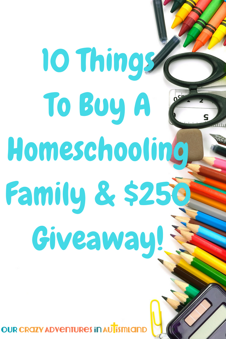 Want to help out a homeschool family but don't know what to buy? Here are 10 ideas they will love and a $250 giveaway.