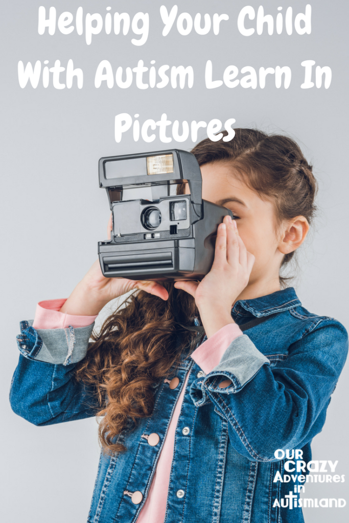 Helping your child with autism learn in pictures plays to their learning style of thinking in pictures.This allows them to learn faster & feel competent.