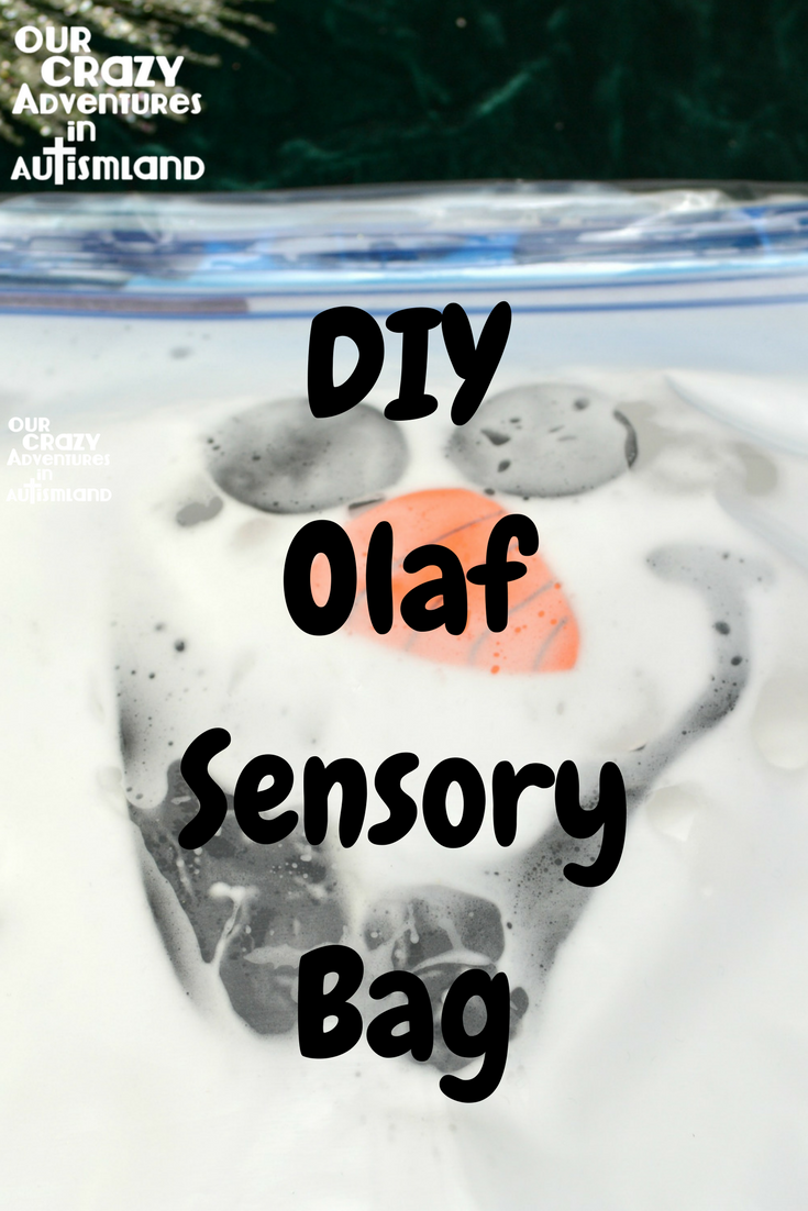 Do you want to build a snowman? Use Olaf to help your child with autism work on therapy goals at home with a frugal DIY sensory bag.
