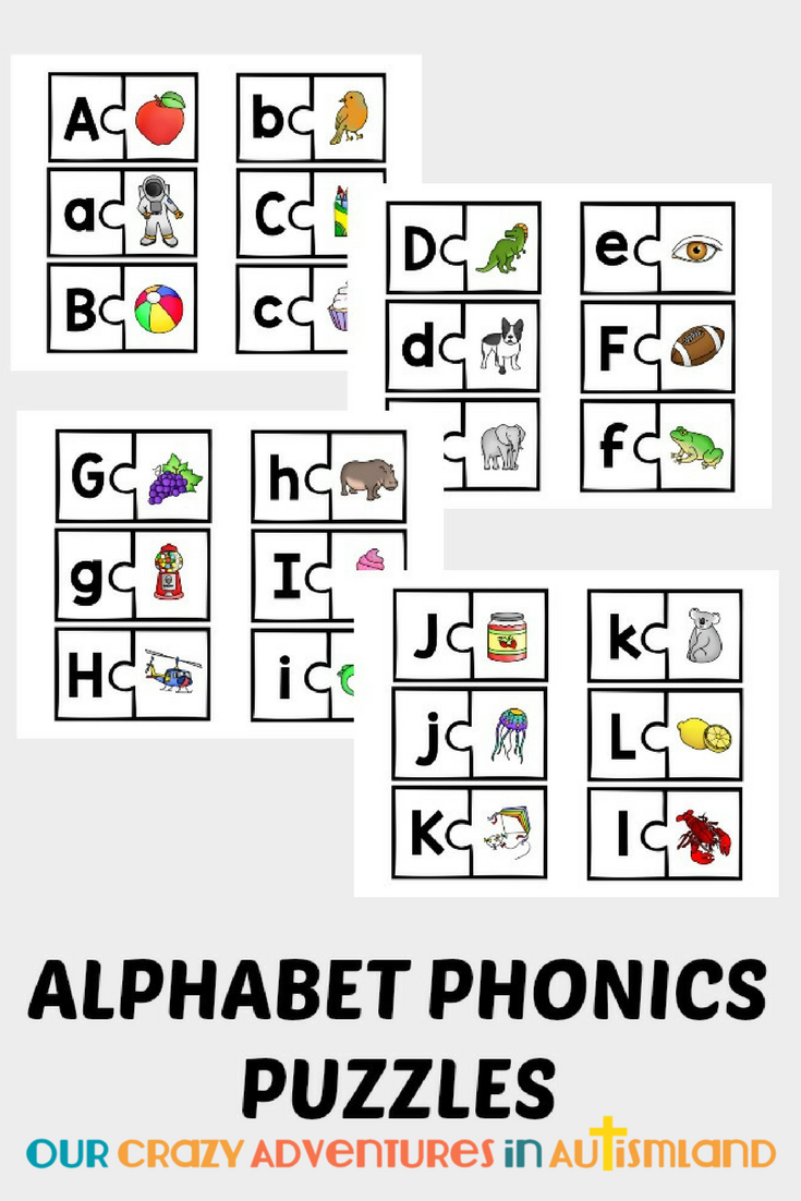 Use these visual puzzles to help your child remember the sounds the letters make. Set your visual learner up for success in the arduous task or learning to read with these fun picture puzzles. Get all 26 letters of the alphabet with a corresponding picture. Print on cardstock and laminate for unlimited learning while having fun.