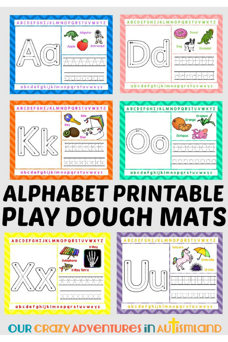 Full set of all 26 letters of the alphabet on their own individual Play Dough mat. Striking images help your visual learners remember the letters while tracing or using Play Dough helps build fine motor skills needed for handwriting.