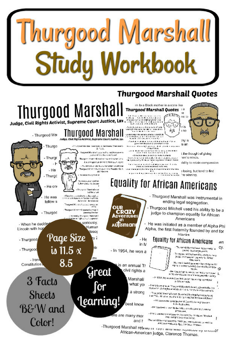 Learn about the life of the first African American Supreme Court Justice with fun activities. Copywork quotes, word search, as well as other fun activities for a great low price.