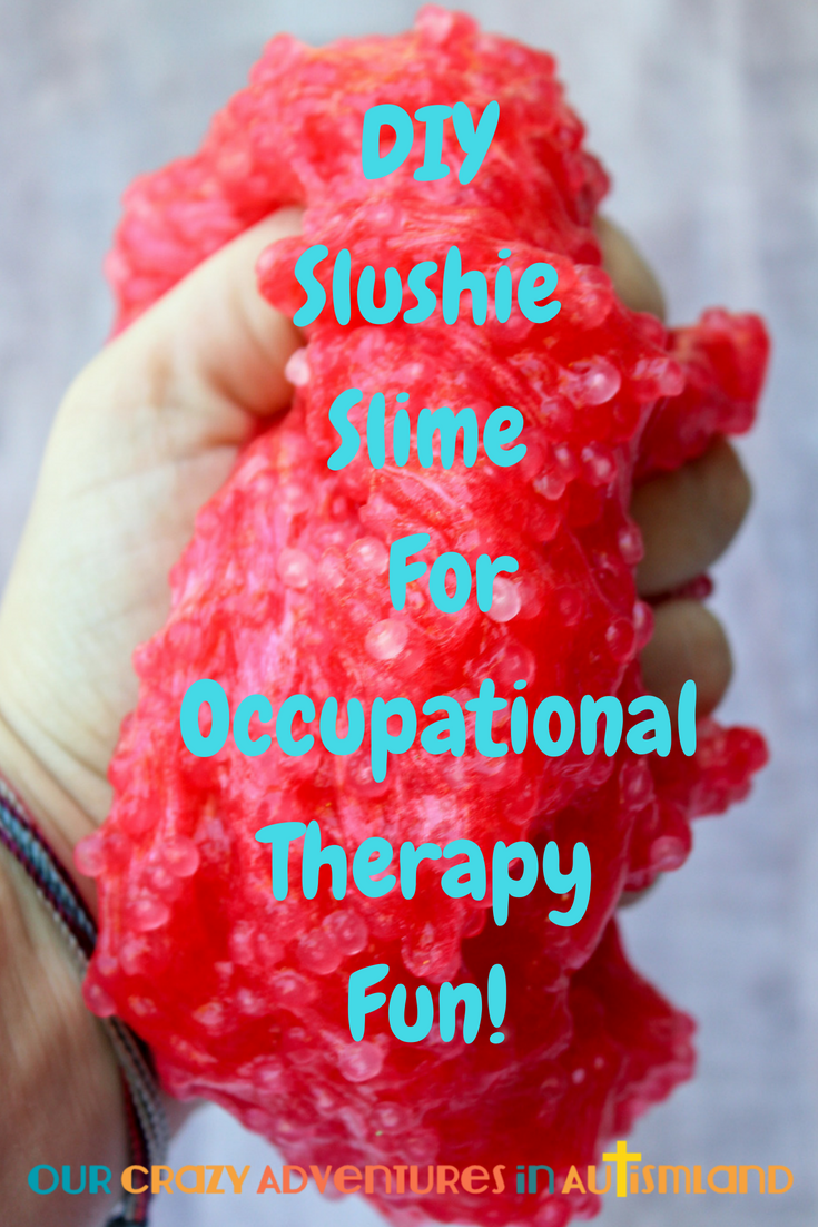 Slime is a fun activity to do together for various therapy needs. It's a frugal yet fun option for your at home occupational therapy program.
