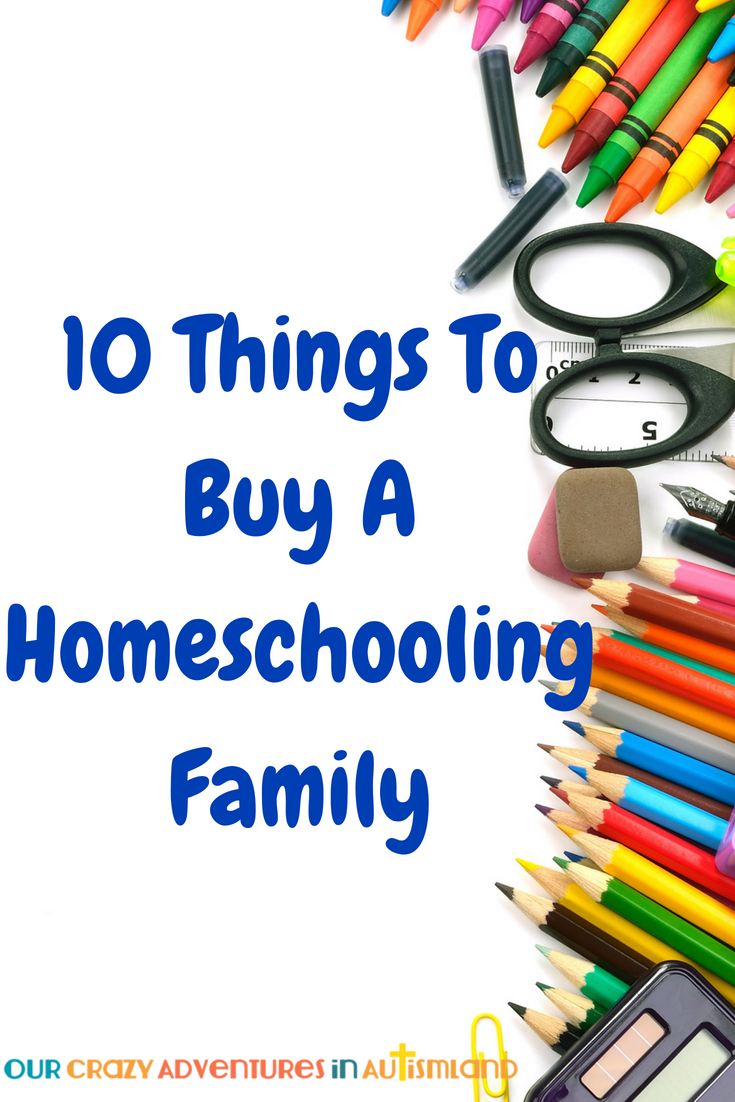 Want to help out a homeschool family but don't know what to buy? Here are 10 ideas they will love and a $250 giveaway.   #autismland #homeschool #giveaway