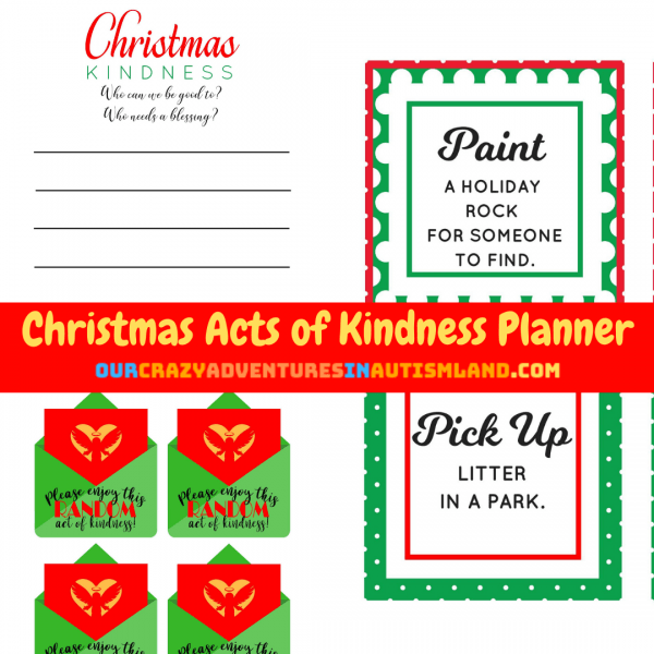 Are you looking for a way to spread kindness this Christmas season? Do you want to countdown the days to Christmas by doing random acts of kindness but don't know where to start? #Christmas #kindness #planner #autismland