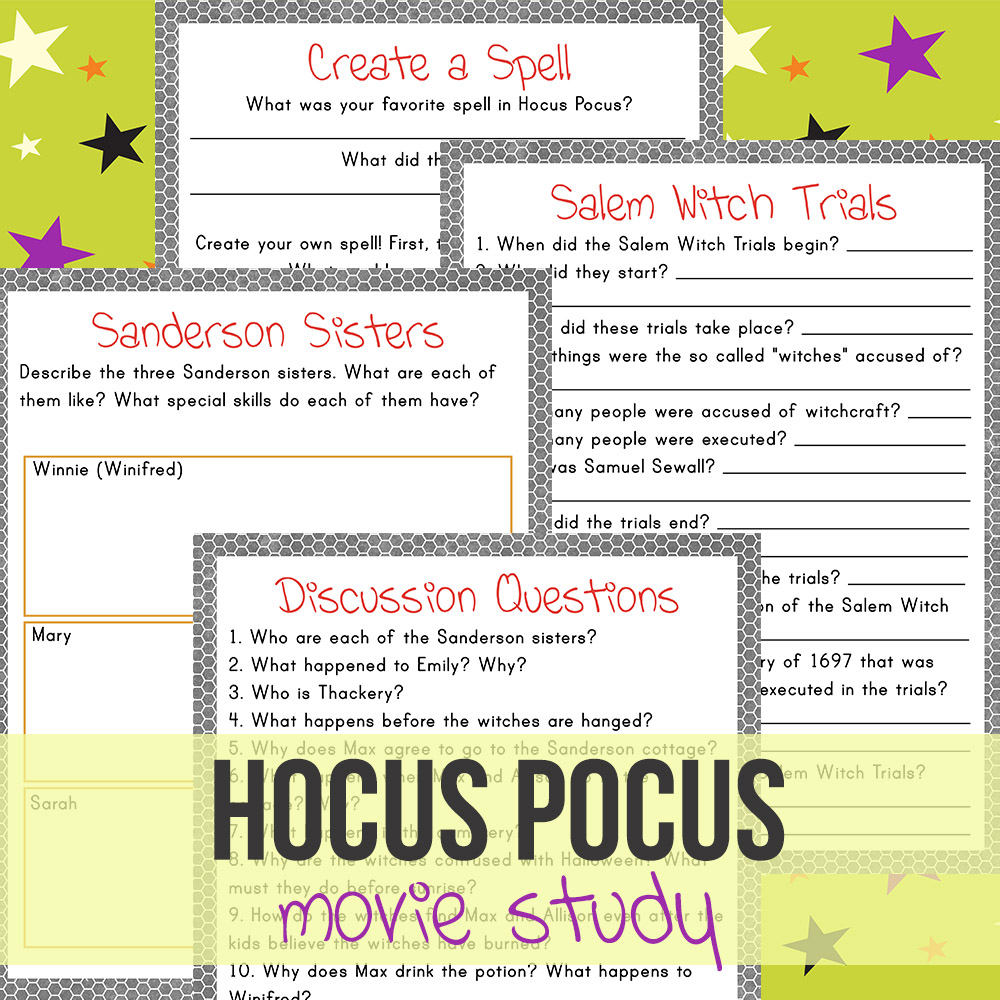 Hocus Pocus is the quintessential Halloween movie. You can have fun & learn early American history by using this fun Hocus Pocus movie study.