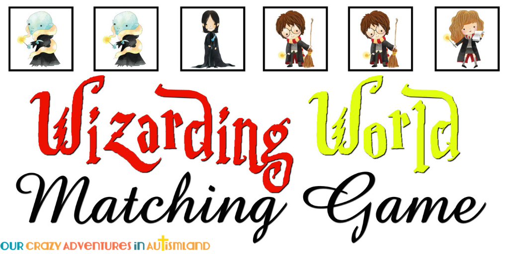 Wizarding world matching game is a fun way to work on functional memory. Using characters your child knows and enjoys helps make this task fun.